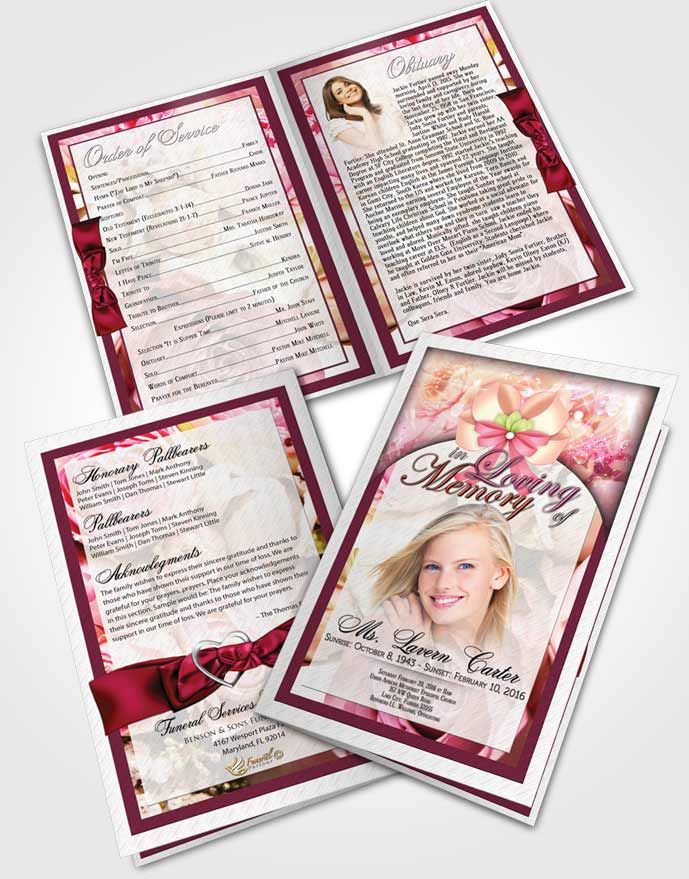 Bifold Order of Service Obituary Template Brochure