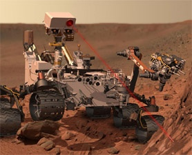 Artist's impression of Curiosity using its ChemCam instrument to analyze rock minerals.