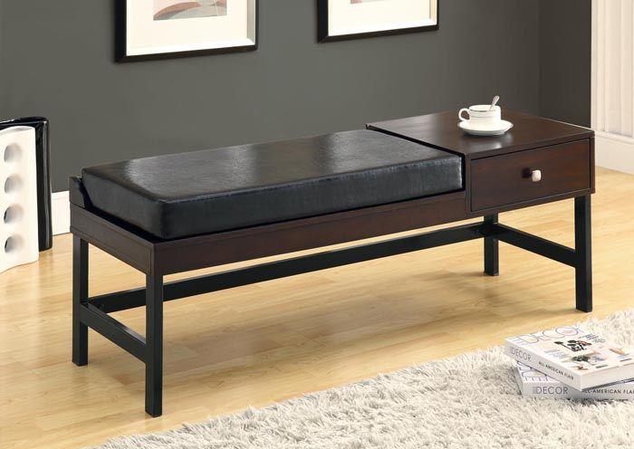 Banc en similicuir brun foncé / Long dark brown leather look bench