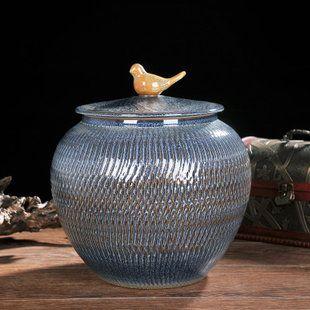 Jingdezhen Céramiques baril de riz du bac de stockage de 25 kg de riz de 10 kg d'insectes résistant � l'humidité contenant un cylindre de stockage d'eau de cuisine