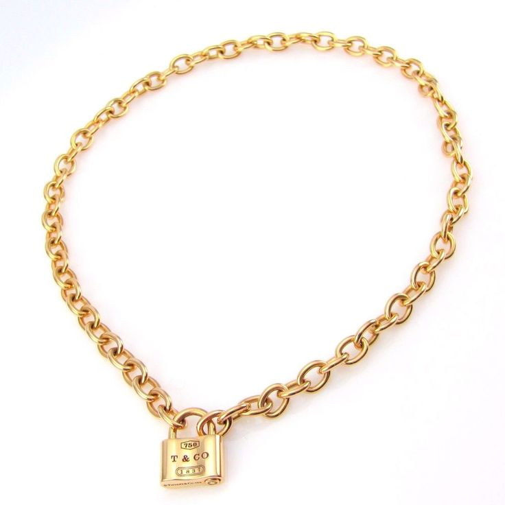 "TIFFANY &CO ""1837"" Padlock Necklace in High Polished 18K Yellow Gold 