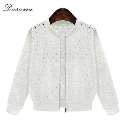 Summer Coat 2016 Latest European Style Fashion Women Lace Jacket Hollow Out Designs Baseball Jacket Summer Women Bomber Jacket