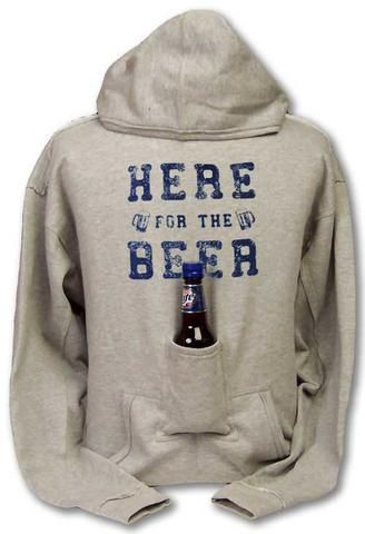 This is definitely going to be a christmas gift! -- Beer Hoodie Sweatshirt with Beer Pouch $14.99