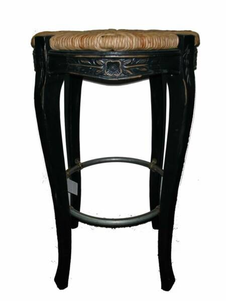 french country bar stools with rush seats | French Provincial Backless Counter Stool with Round Rush Seat