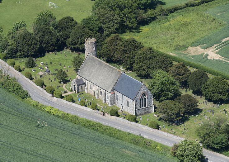 St mary the virgin church in blundeston suffolk aerial