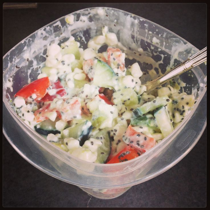 I love this healthy, clean eating snack! Cottage cheese, diced cucumber, red pepper, avocado, and chia seeds. Yum!