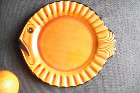 piatto di pesce in ceramica ceramica continentale - smalto marrone-