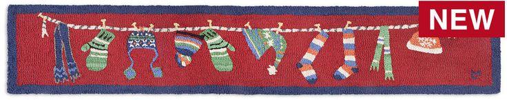 Wet Winter Wear On Red Hooked Wool Hearth Rug 1'x6'