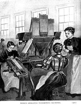 Women operate typesetting machines in the late 1800s. Between 1870 and 1900, the population of the United States doubled, its urban population tripled, and the number of daily newspapers published in the United State quadrupled. Newspapers increasingly em