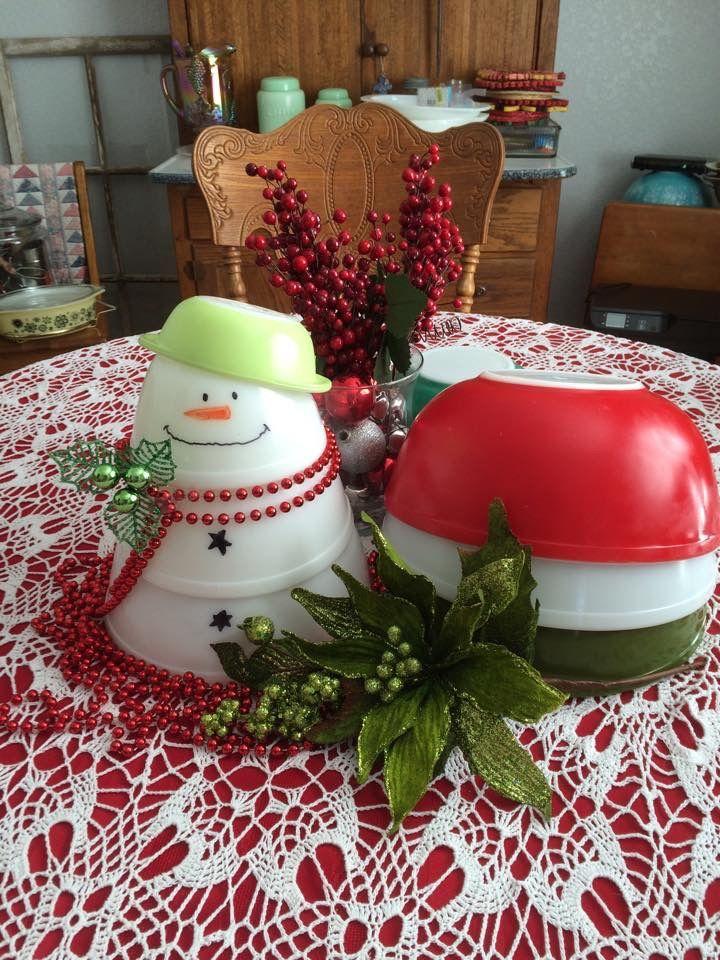 Pyrex Winter Display... Opal Pyrex, Red, Whit & Green 400 series bowls, Casserole Hat.