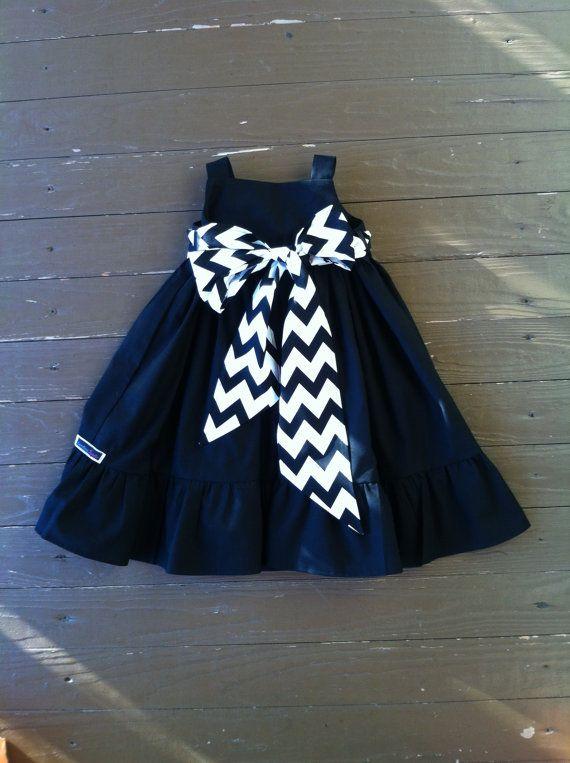 Custom boutique children's clothing. Girls Little Black Dress. Ruffle detail. Black white chevron or custom sash. By EverythingSorella on Etsy, $58.50