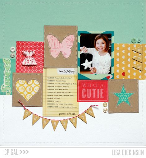 Sweet layout, and I love seeing the process. // Crate Paper | Lisa Dickinson
