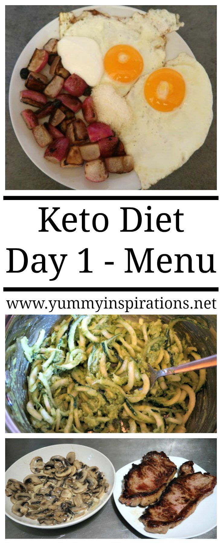 Keto Day 1 - Meals & Tips for surviving your 1st day on the low carb ketogenic diet - with a menu and meal plan ideas for day 1 and beyond. Great whether you're wanting weight loss or clean eating for good health.