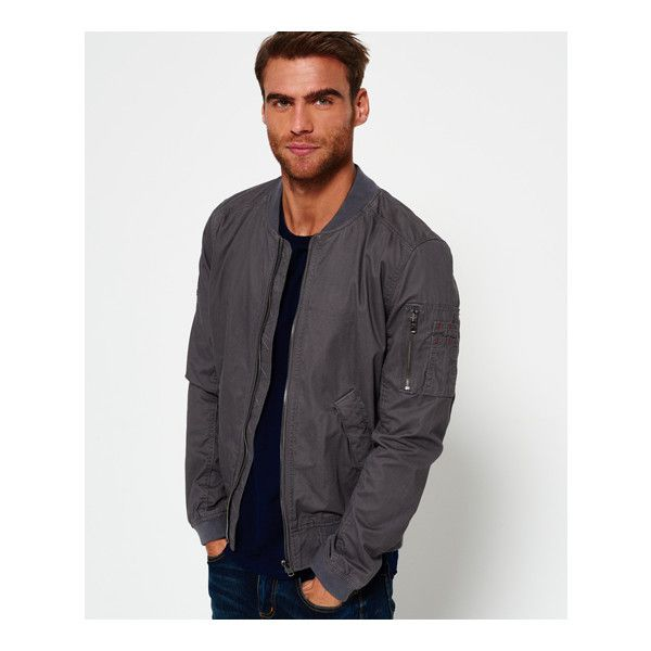 Superdry Rookie Duty Bomber Jacket (€87) ❤ liked on Polyvore featuring men's fashion, men's clothing, men's outerwear, men's jackets, grey, mens jackets, superdry mens jackets, mens grey bomber jacket, mens short sleeve jacket and mens zip jacket
