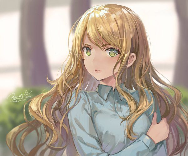 Anime picture 				2000x1667 with  		original 		momoko (momopoco) 		long hair 		single 		blush 		highres 		looking at viewer 		blonde hair 		breasts 		fringe 		signed 		light smile 		lips 		eyebrows 		parted lips 		lipstick 		wavy hair 		outdoors 		upper body 		blurry
