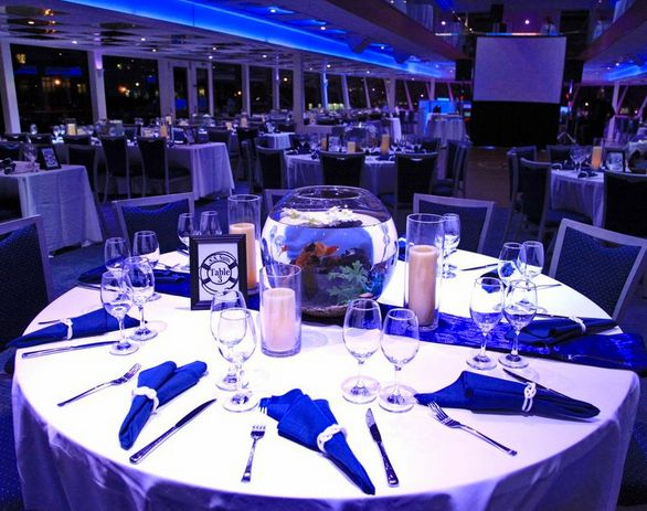 Cruise ship Dinner Table in the dining room.  Great place for everyone to taste new food.