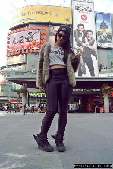 Balla Tee, Jeremy Scott Adidas X Asap Rocky Wings, American Apparel Disco Pants, H&M Fur Jacket
