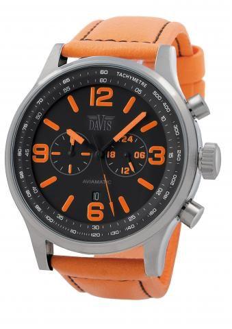 DAVIS HORLOGE 1276 | Sportief herenhorloge met knal-oranje lederen band. Mooi contrast met de zwarte wijzerplaat | Koop dit Davis herenhorloge voordelig en snel op horlogesstyle.nl http://www.horlogesstyle.nl/davis-horloges #davis #davishorloges #herenhorloges