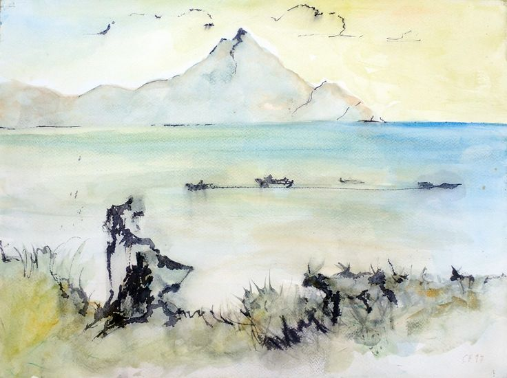 Landscape with Painters & Goats, ink & watercolor on paper