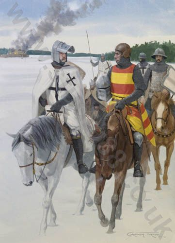"Teutonic Knights' raiding party in Lithuania in mid-winter, mid 14th century.  Gouache painting by Graham Turner - image size 13""x 17"" (33 x 43cm)"