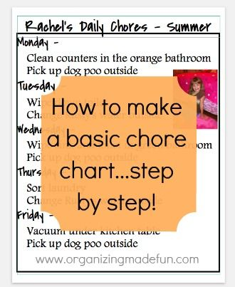 Organizing Made Fun: How to make a simple chore chart step by