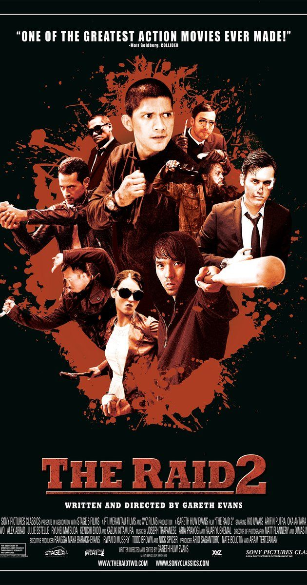 Directed by Gareth Evans.  With Iko Uwais, Yayan Ruhian, Arifin Putra, Oka Antara. Only a short time after the first raid, Rama goes undercover with the thugs of Jakarta and plans to bring down the syndicate and uncover the corruption within his police force.