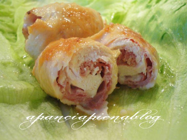 Involtini di pollo con prosciutto e mozzarella