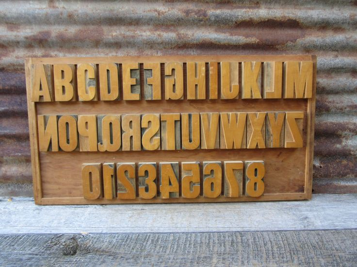 Large Letter Press Display Collection Complete Set Alphabet A-Z and Numbers 0-8 Wood Numbers Wood Letters Printing Press Printer Signs VTG by TheOldTimeJunkShop on Etsy https://www.etsy.com/listing/234102234/large-letter-press-display-collection