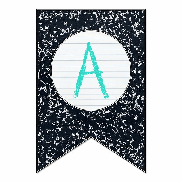 Free Back to School Banner/Bunting Full Alphabet & Number Set - The Cottage Market (assorted colors)