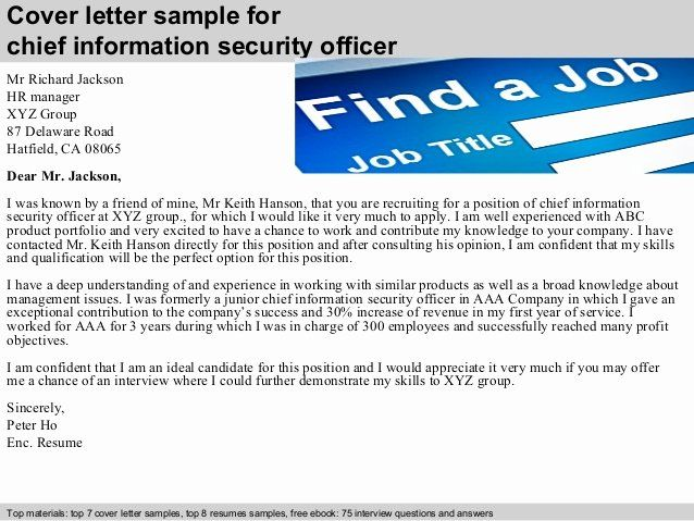 Security Officer Cover Letter Sample Luxury Chief Information Security Officer Cover Letter Cover Letter Sample Cover Letter For Resume Lettering Security officer cover letters