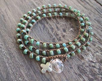 Colorful crochet wrap bracelet necklace Lil' RainBow by slashKnots