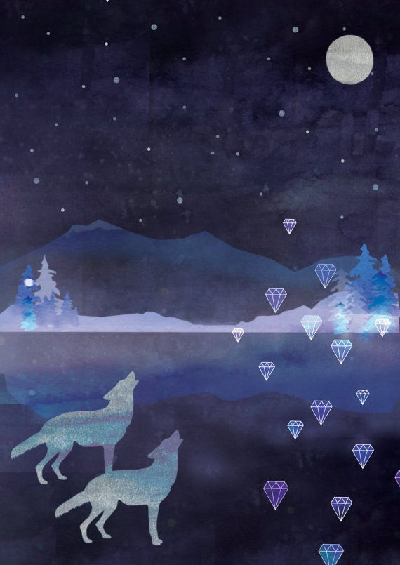 Watercolour Print  Winter Moon  Wall Art Art Art Prints