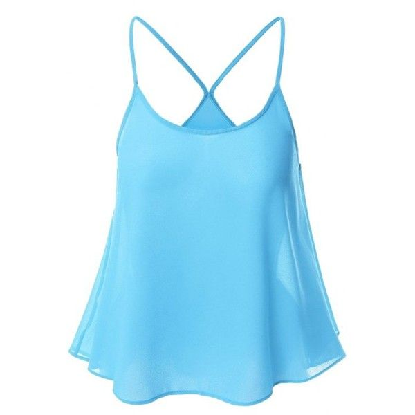Candy-Colored Chiffon Cami Top ($11) ❤ liked on Polyvore featuring tops, blue camisole, chiffon cami, camisole tank, blue cami top and blue cami