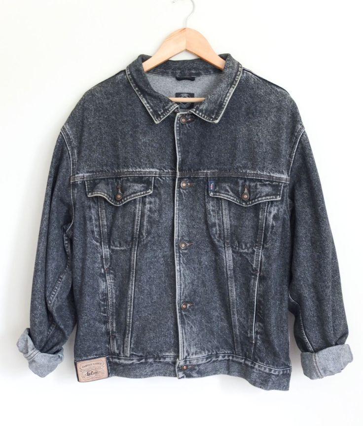 Vintage 90's Lee Cooper Acid Wash Black Oversize Western Trucker Denim Jacket Size L by WilderPeople on Etsy