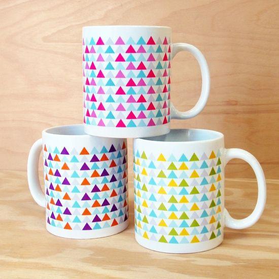 new triangle pattern mugs by rock scissor paper
