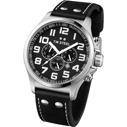 TW Steel Pilot TW412 Mens Chronograph8718215087380      Stainless steel case, silver colored coating, polished /mat  Leather strap, black, pin buckle  Crown protection  Quartz movement, battery operated  Date display, 24 hour display, Tachymeter display  Chronograph function, Stop watch  5 ATM Water Resistant  Case width ca. 47 mm      Comes with booklet and box. | Shop this product here: http://spreesy.com/vampire_clothing/30 | Shop all of our products at…