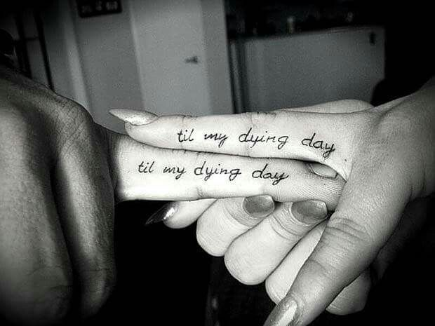 Tiny Couple Tattoo On Finger