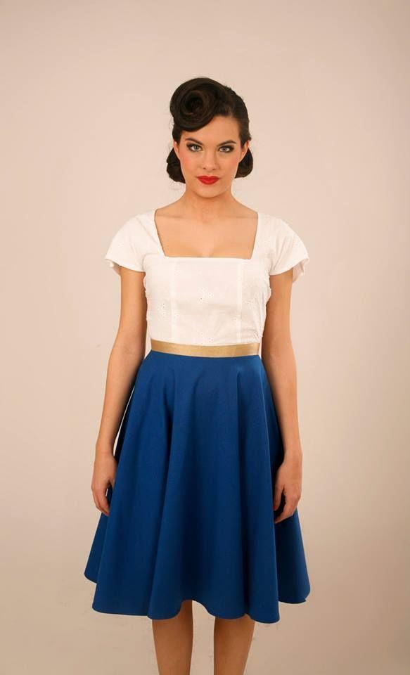 Vestido Old Fashioned blanco&azul / Lady Cacahuete