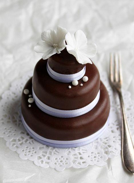 3 tier mini chocolate cake by flickan & kakorna, via Flickr