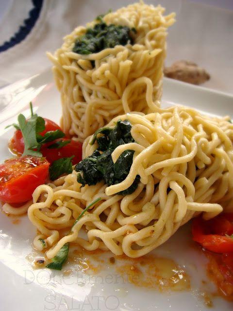 #Cannelloni di #tagliolini con #spinaci allo #zenzero
