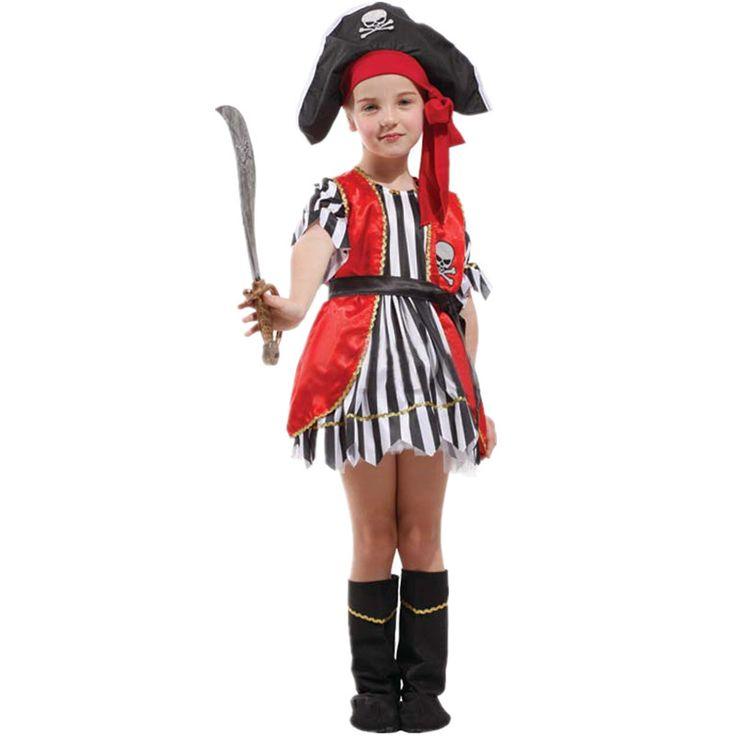7 Компл./лот Бесплатная Доставка Пиратский Костюм Девушки Дети Hat Карнавал Halloween Masquerade Партия Дети Косплей Одежда Необычные Платья