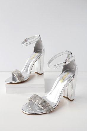1c4247c5f18 Amina Silver Rhinestone Ankle Strap Heels 2