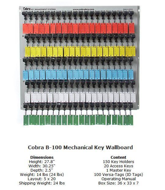 Cobra B-100 Mechanical WallBoards 100 Unit Cobra Key System