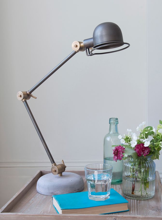 Loaf's adjustable concrete based and metal Buddy lamp