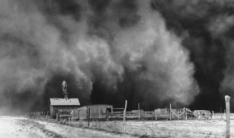 On May 11, 1934, an enormous dust storm hit the Great Plains, blowing tons of topsoil as far east as Boston.