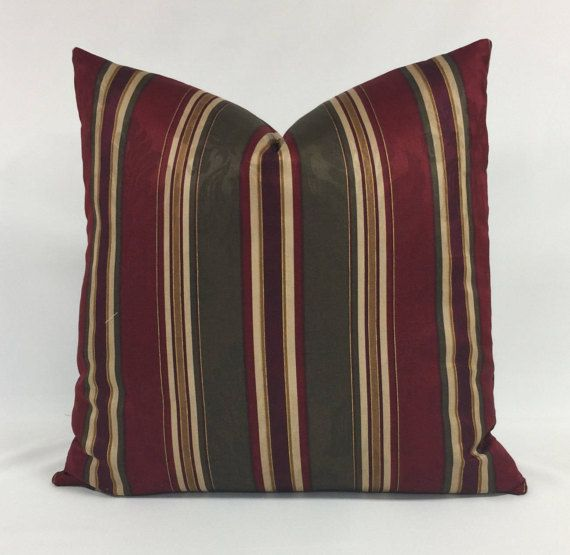 Pillow Cover  Striped  Burgundy  Green  Gold  Cream