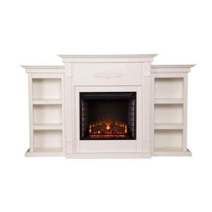 Southern Enterprises, Jackson 70.25 in. Freestanding Media Electric Fireplace with Bookcases in Ivory, HD9137 at The Home Depot - Mobile