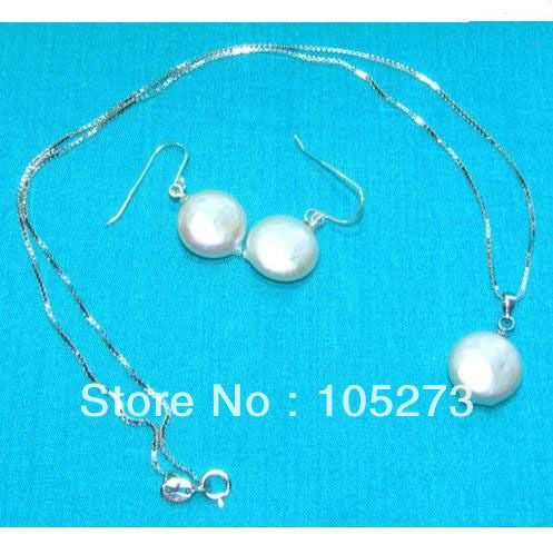 ==> [Free Shipping] Buy Best Wholesale Pearl Jewellery Set White Color Coin Shaper 12-13mm Natural Freshwater Pearl Pendant Necklace 925 Silver Earrings Online with LOWEST Price | 893508148