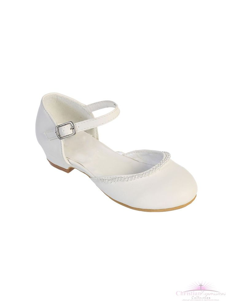 Girls First Communion Shoes Pearl Trim | Girls White First Holy Communion Shoes with Pearls