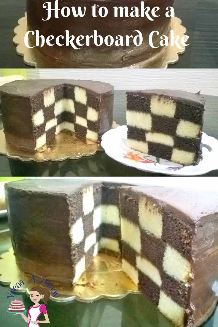 A Checkerboard Cake Can Be A Fun And Surprisingly Easy Cake To Make For Any Occasion Especially Kids Birth Checkerboard Cake Easy Cakes To Make Checkered Cake
